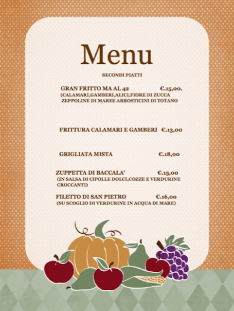 Menu Secondi